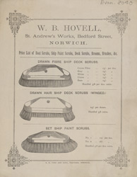 Advert for WB Hovell, brushes & brooms, reverse side